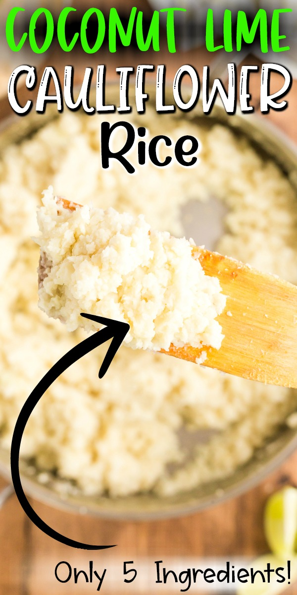 This Coconut Lime Cauliflower Rice recipe takes that ho-hum cauli rice to a new level with coconut milk and fresh lime juice and zest! Perfect for low-carb, Whole30, and gluten-free diets. #whole30 #lowcarb #keto #glutenfree #sidedish #cauliflowerrice #rice #cauliflower #easy #recipe | bobbiskozykitchen.com