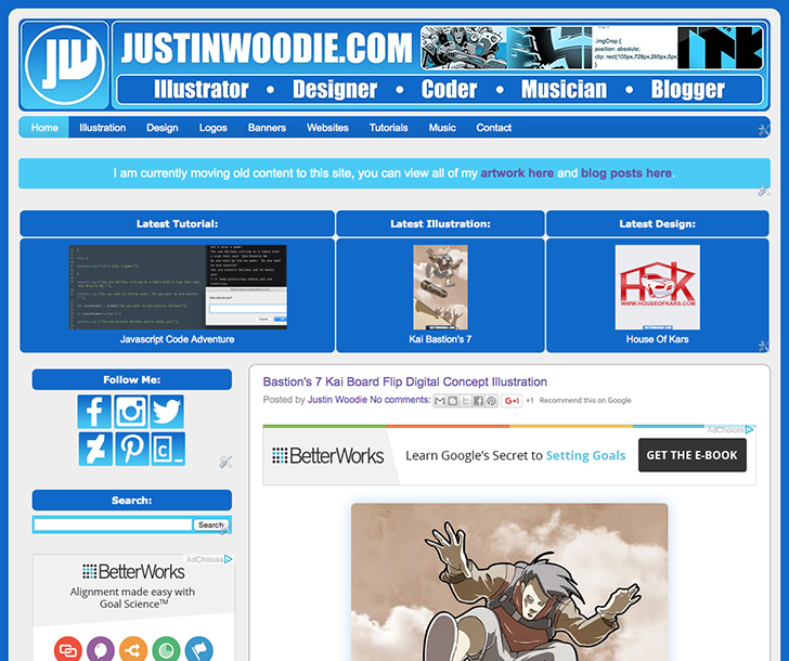 Screenshot Of Justin Woodie's Website