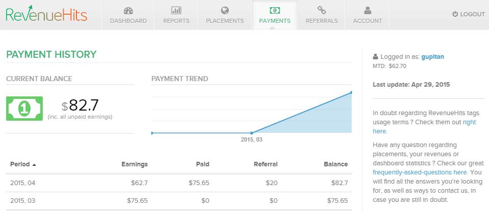 Bukti Pembayaran dari RevenueHits Ads