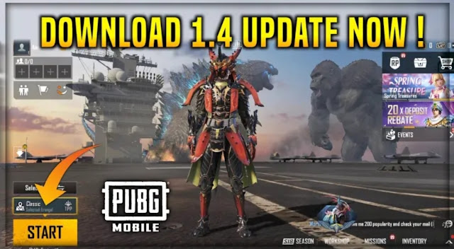 PUBG Mobile 1.4 update global version download APK and OBB files