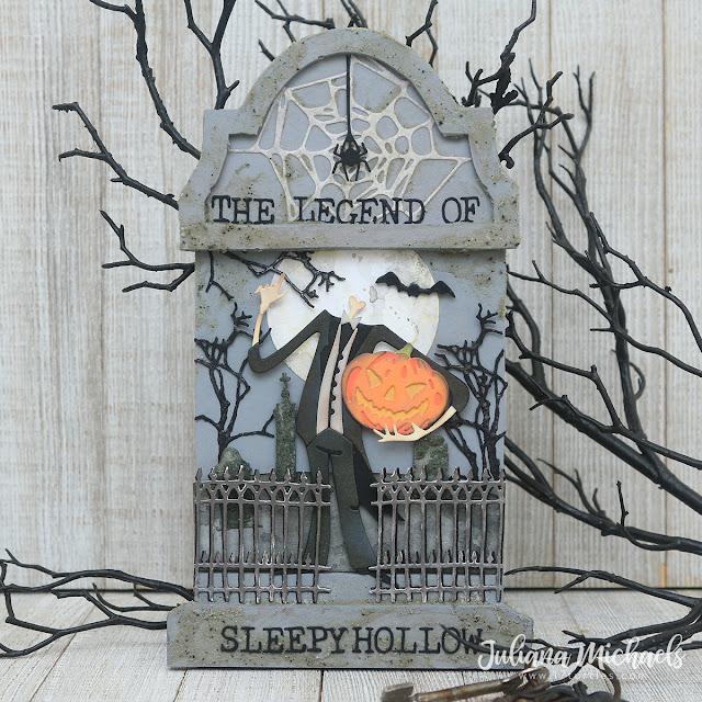 The Legend of Sleepy Hollow Tombstone by Juliana Michaels featuring Tim Holtz Sizzix Halloween Pumpkin Head Thinlits