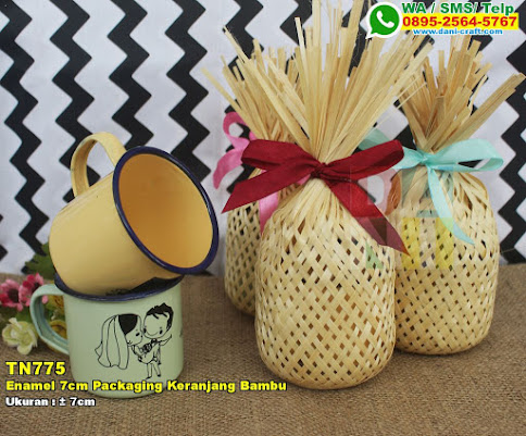 Enamel 7cm Packaging Keranjang Bambu