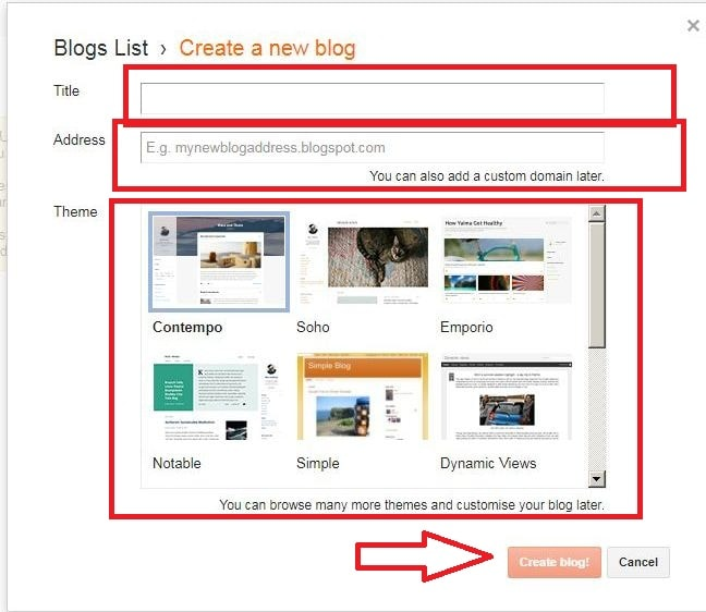 click on the create blog