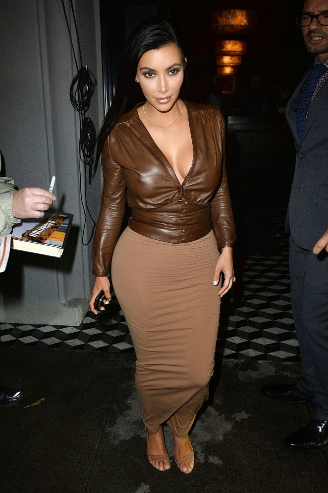 Kim Kardashian bares cleavage in a leather top in West Hollywood