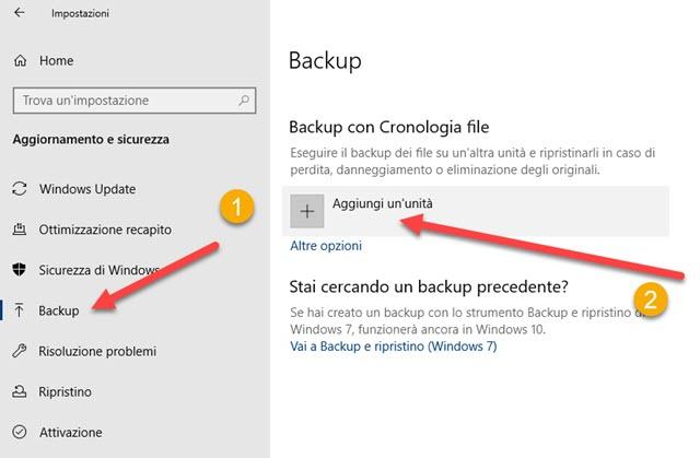 backup e cronologia dei file in windows