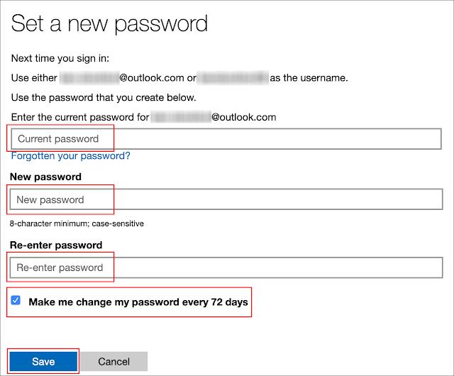 """اكتب كلمة المرور الحالية ، واكتب كلمة مرور جديدة ، وانقر فوق مربع الاختيار الموجود بجوار """"Make Me Change My Password كل 72 يومًا"""" ، ثم انقر فوق """"حفظ""""."""