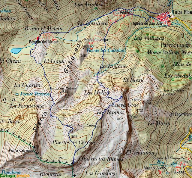 Mapa IGN con la ruta señalizada a los Puertos de Cerreos en el Parque Natural de Ubiñas-La Mesa