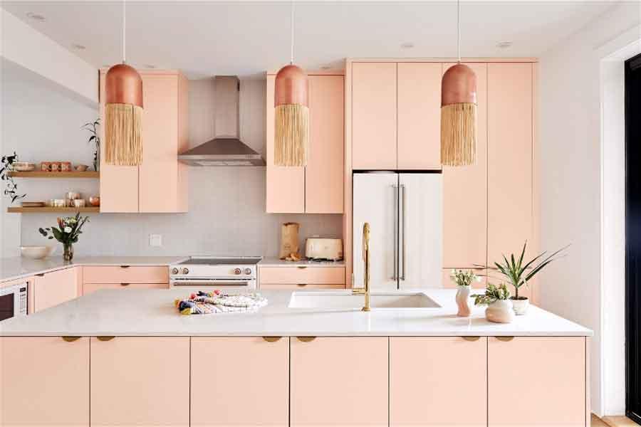 inspirasi ide dapur warna pink merah muda