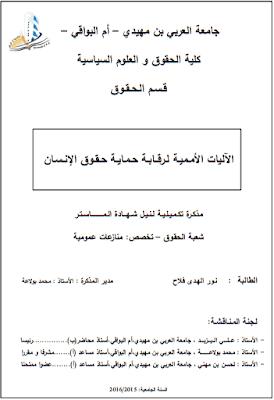 مذكرة ماستر: الآليات الأممية لرقابة حماية حقوق الإنسان PDF