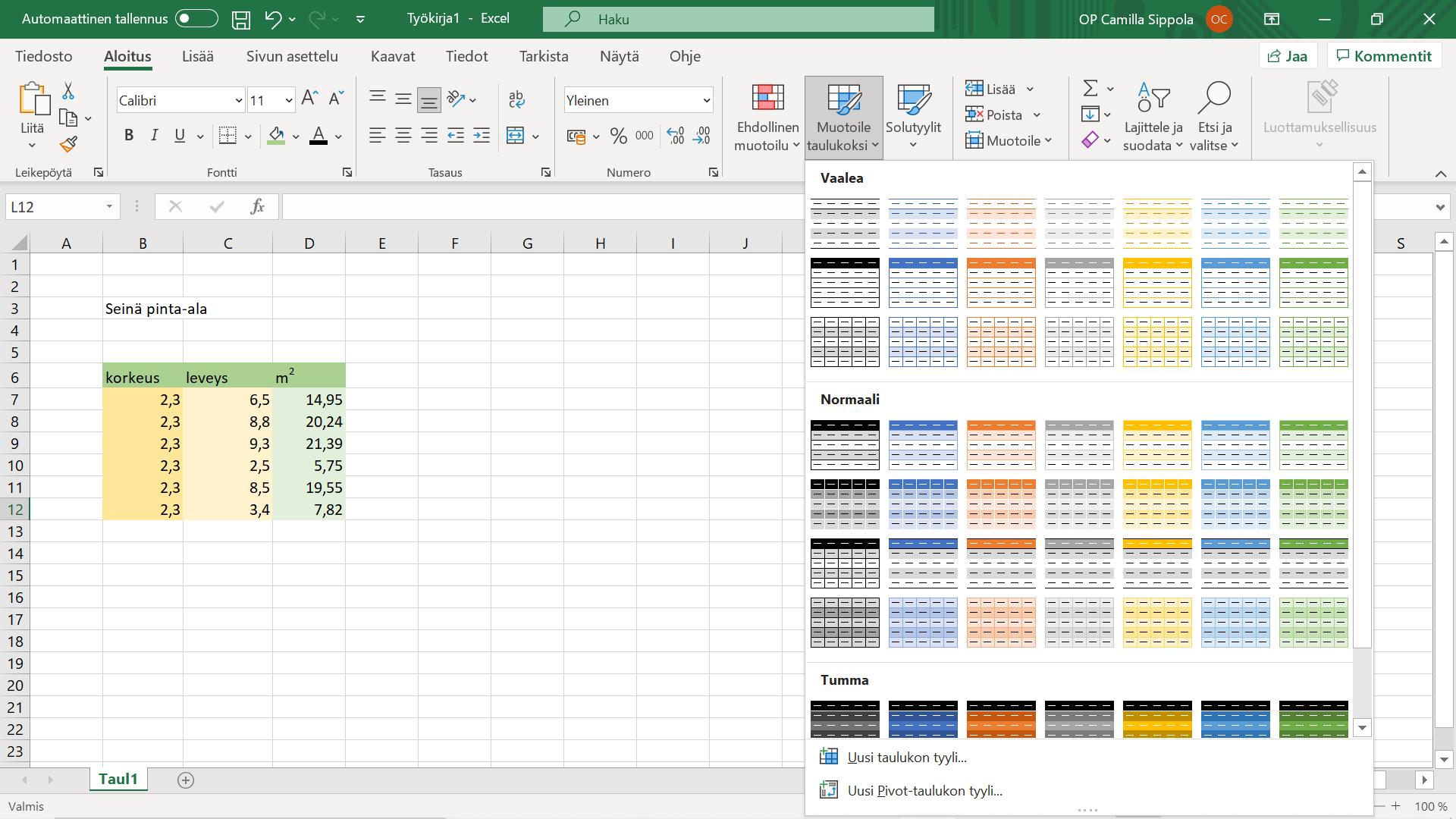 Excel valmiit taulukon muotoilut