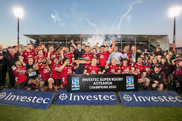 The Crusaders celebrate winning Super Rugby Aotearoa