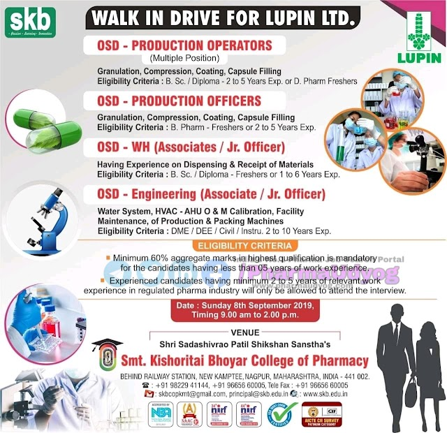 Lupin | Walk-in for Freshers for OSD- Production-WH-Engg | 8 September 2019 | Nagpur