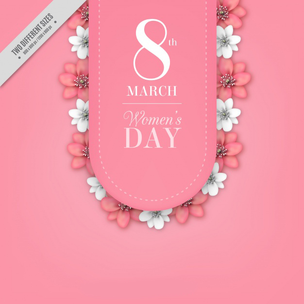 Women's day background with white and pink flowers Free Vector