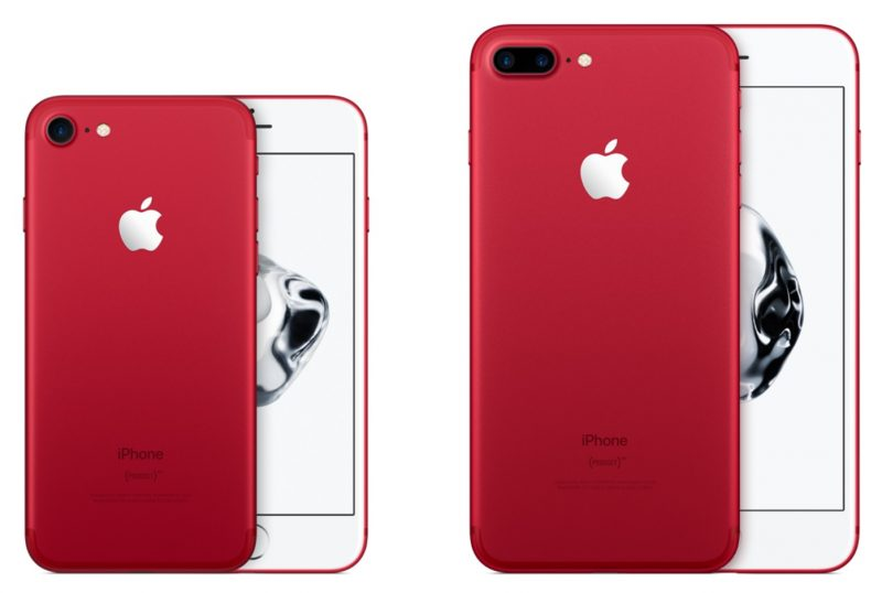 Red iPhone 7 and red iPhone 7 plus