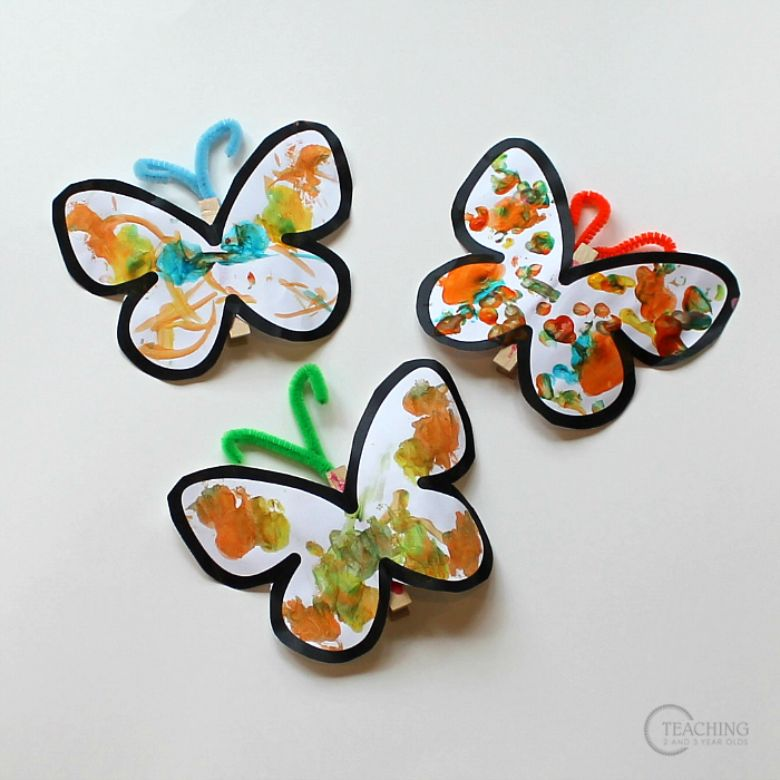 Spring crafts for kids - q tip painted butterfly craft