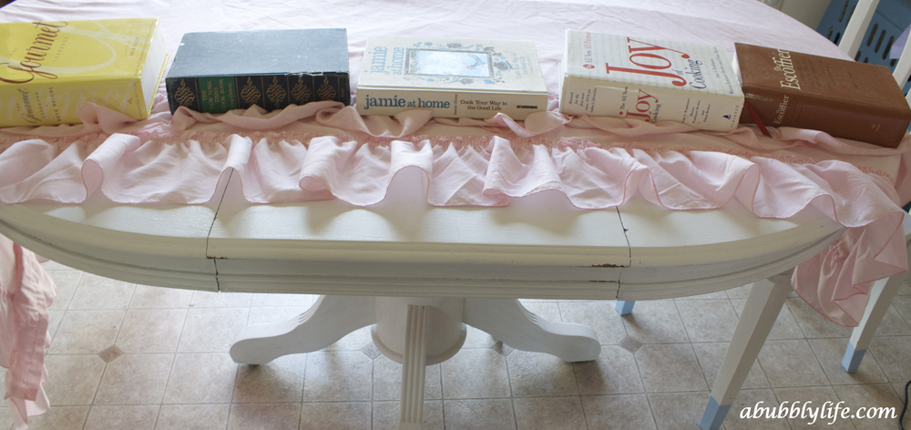 A Bubbly LifeDIY No Sew Ruffle Tablecloth For Less Than $10   A Bubbly Life