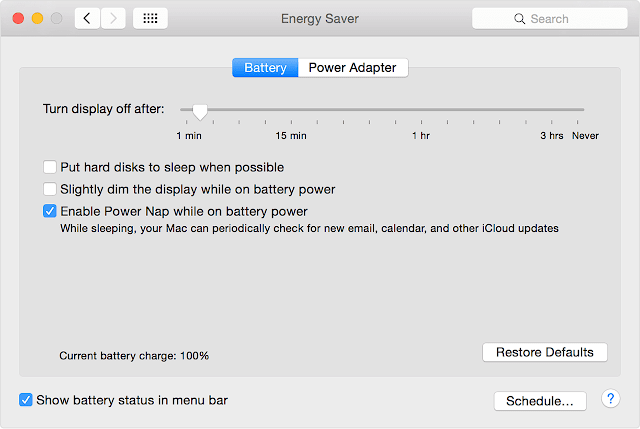 Enable Power Nap while on battery power on MacBook Pro