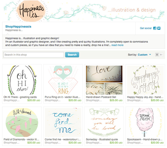 Happiness is... now a shop on Etsy
