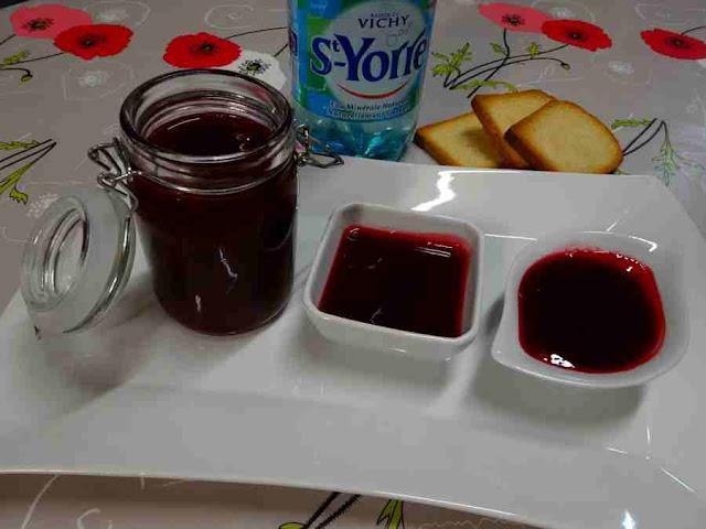 dessert confiture ou gelée de framboises à l'eau de vichy