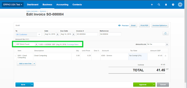 sales order with multiple currency xero