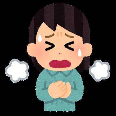 呼吸困難のイラスト(女性)