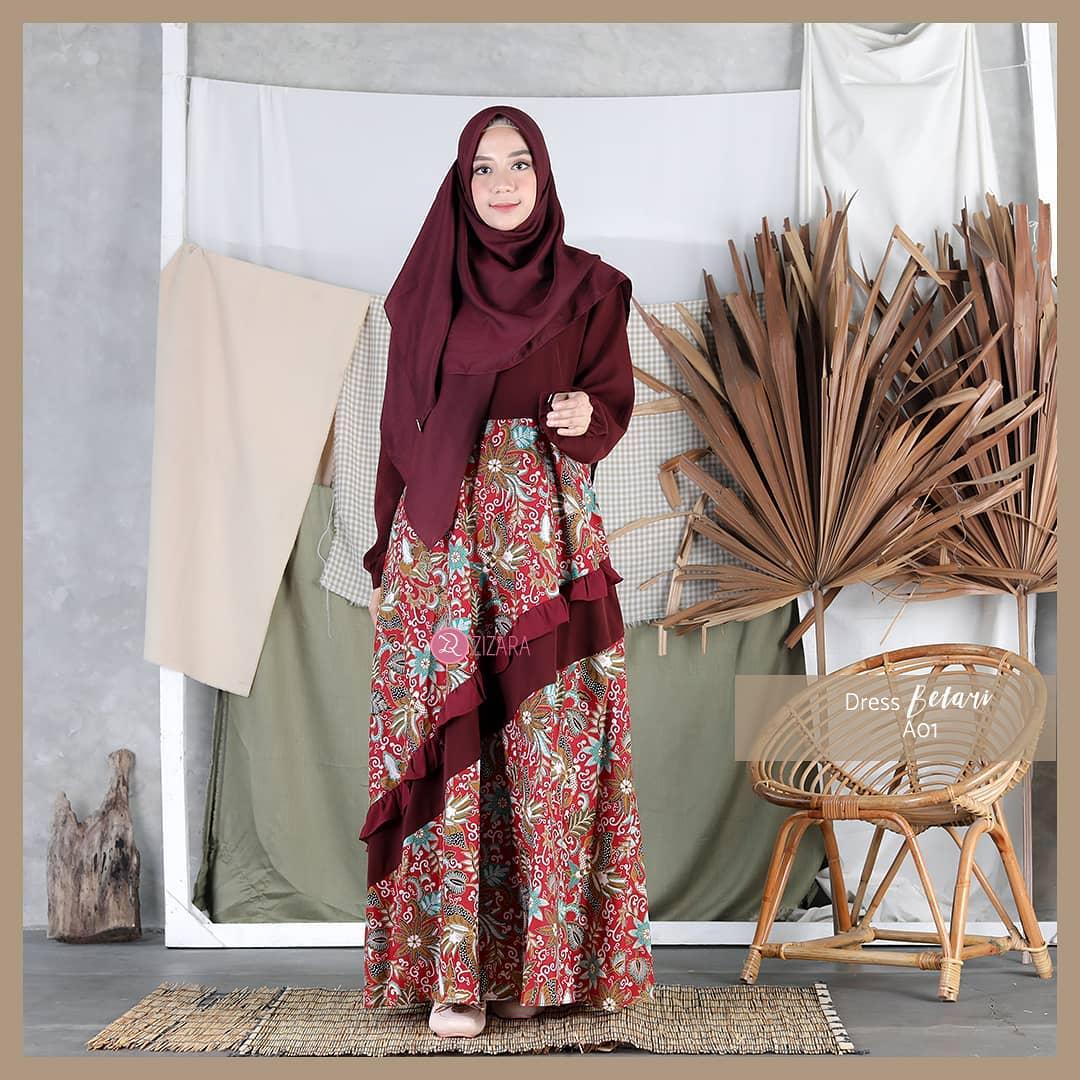 Model Baju Gamis Batik Brokat Sifon Satin Terpopuler