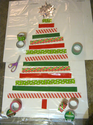 Duck tape shower curtain Christmas tree Stefanie Girard