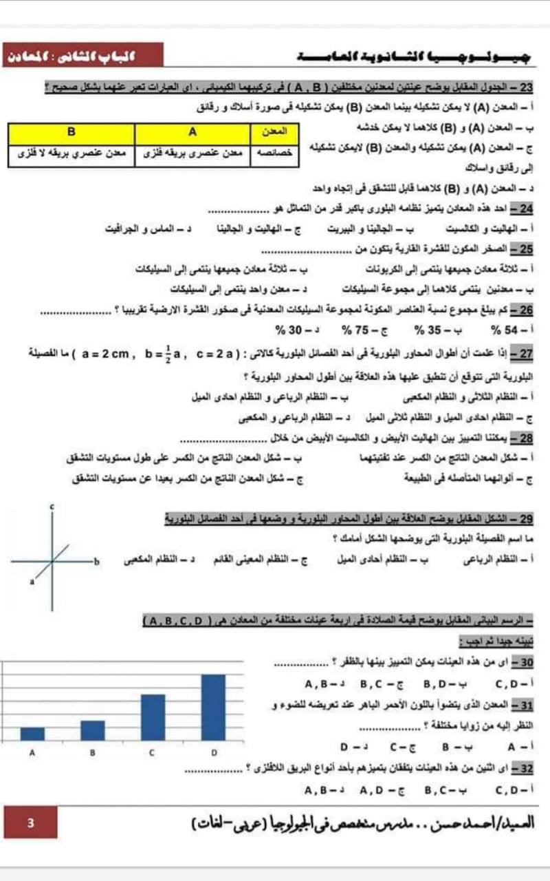 مراجعة جيولوجيا 3 ثانوي.. الباب الاول والثانى  بالاجابات أ/ أحمد حسن 12
