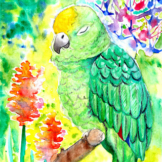 Sleepy parrot watercolor painting