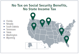 map showing Florida, Nevada, South Dakota, Tennessee, Texas, Washington, and Wyoming - No Tax on Social Security Benefits or State Income Tax