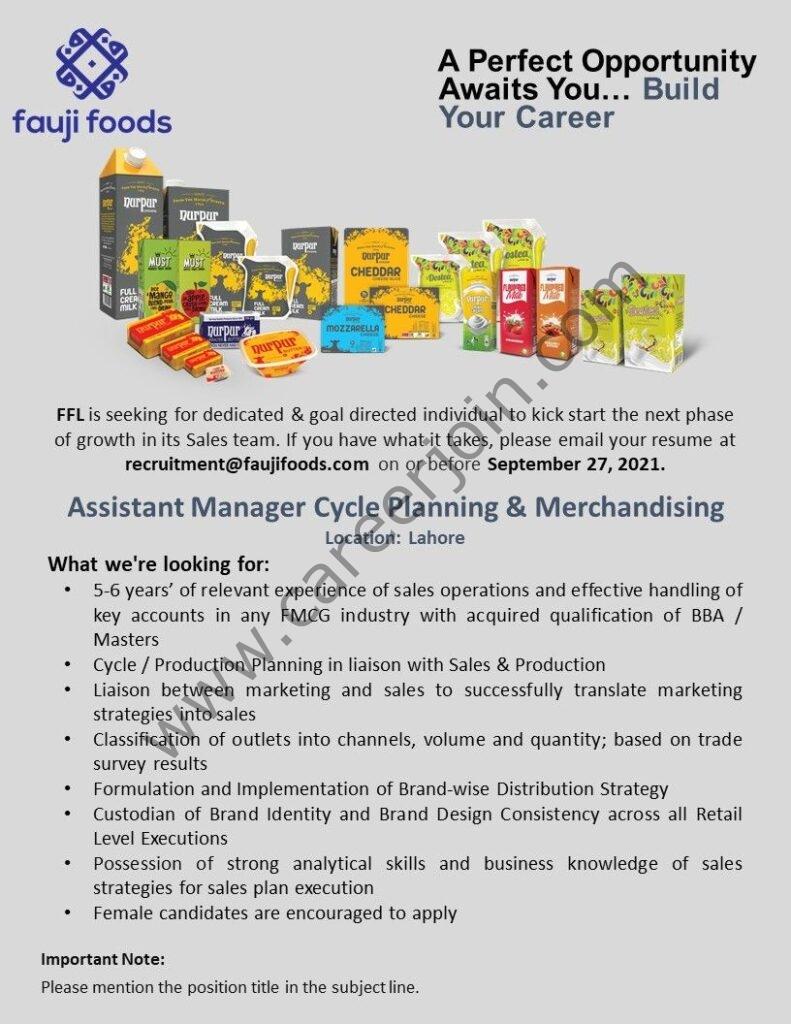 recruitment@faujifoods.com - Fauji Foods Pvt Ltd Jobs 2021 in Pakistan