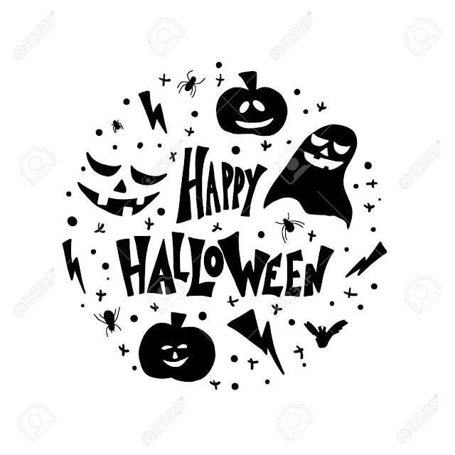happy halloween silhouette clipart black and white outlines