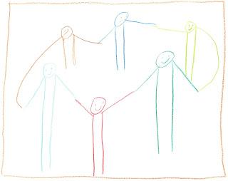 Nixklusionsmännchen im Kreis, die sich an den Händen halten.