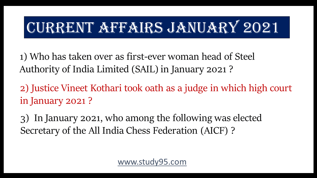 Current Affairs 2021 Questions