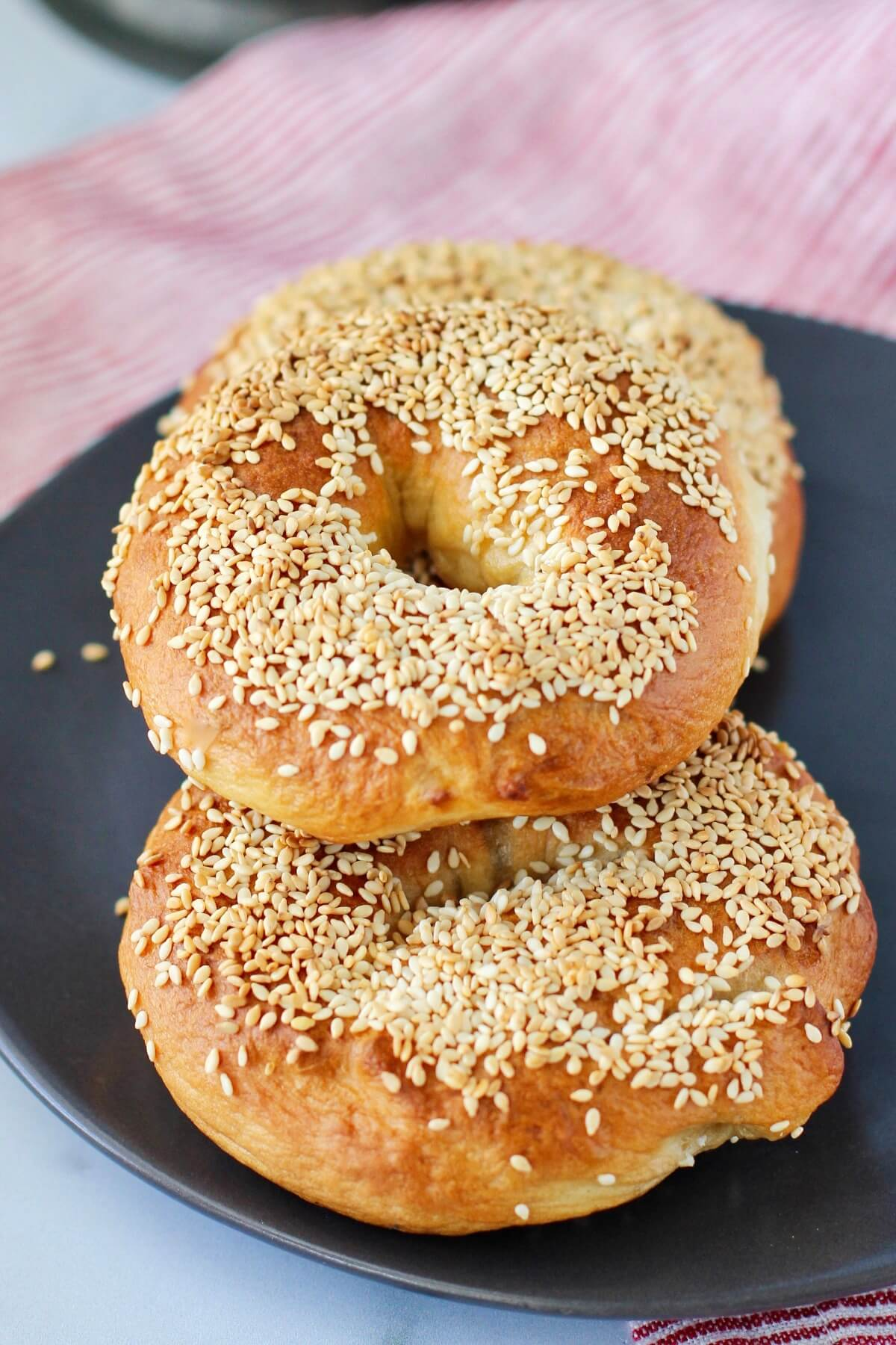 Montreal-Style Bagels with sesame seeds