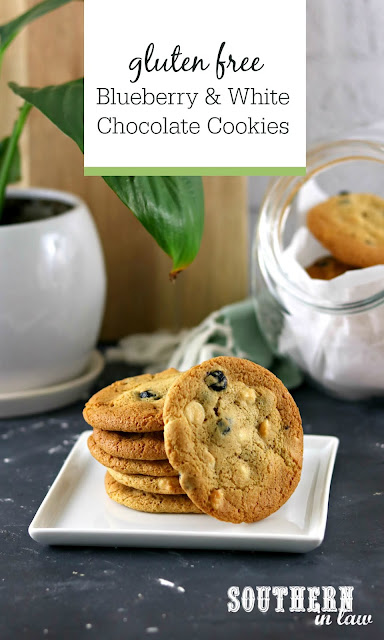 Soft and Chewy Blueberry White Chocolate Chip Cookies Recipe - gluten free, vegan, dairy free, egg free