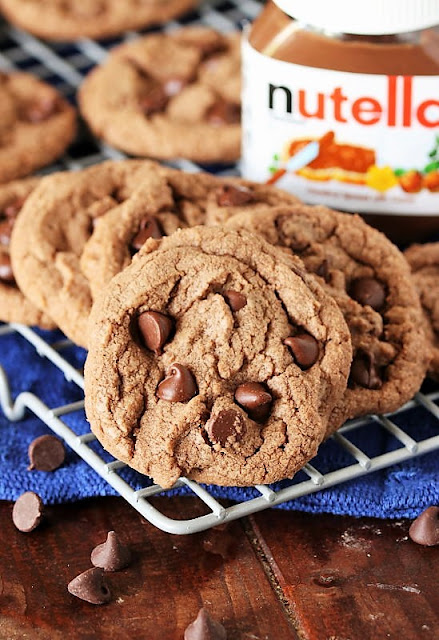 Nutella Chocolate Chip Cookies on Cooling Rack Image