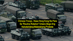 """A large number of armored vehicles and trucks carrying People's Liberation Army (PLA) troops were seen in various locations around Hong Kong ahead of the scheduled protest. However, Chinese media described the action as a """"routine rotation.""""    Hong Kong netizens uploaded photos showing long convoys of PLA vehicles, including armored vehicles, troop carriers, and trailers in different districts of Hong Kong.     Xinhua, a state-run media outlet released a report describing the PLA as conducting the """"22nd rotation of its members"""" since troops began being stationed in Hong Kong in 1997. The operation was approved by the Central Military Commission and this it was a """"routine annual rotation"""" in law with China's law on garrisoning troops in the special administrative region, according to the report.      Ads      The rotation came less than 24 hours after police denied permission for a new mass rally planned for Saturday that was expected to draw hundreds of thousands of people to the streets - the 13th consecutive week of protests.  Hong Kong Police previously denied permission for rallies but the orders have largely been ignored.  The Civil Human Rights Front plans a rally from Hong Kong's central business district to Beijing's main representative Liaison Office in the city on Saturday.  In a letter to the rally organizers, police said they feared some participants would commit """"violent and destructive acts"""".  Protesters have so far carried out """"arson and large scale road blockades"""" and """"used petrol bombs, steel balls, bricks, long spears, metal poles, as well as various self-made weapons to destroy public property"""", the letter said.   Ads    Sponsored Links      In the light of the protests continuously happening in downtown Hong Kong where a large number of overseas Filipino workers are deployed, the Philippine Consulate general in Hong Kong released an advisory to the OFW's to take precautionary measures and not to go to the places where protests are  being organiz"""