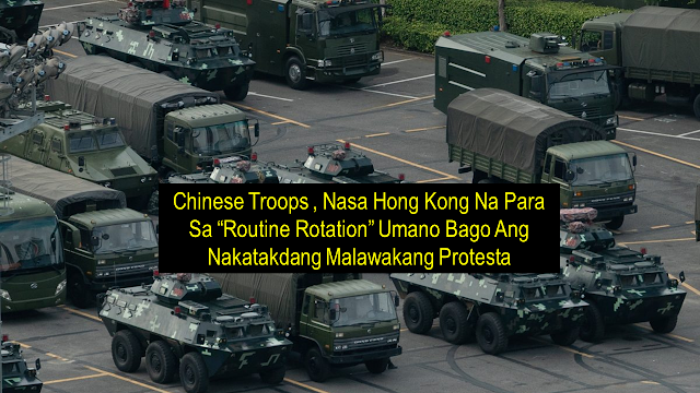 "A large number of armored vehicles and trucks carrying People's Liberation Army (PLA) troops were seen in various locations around Hong Kong ahead of the scheduled protest. However, Chinese media described the action as a ""routine rotation.""    Hong Kong netizens uploaded photos showing long convoys of PLA vehicles, including armored vehicles, troop carriers, and trailers in different districts of Hong Kong.     Xinhua, a state-run media outlet released a report describing the PLA as conducting the ""22nd rotation of its members"" since troops began being stationed in Hong Kong in 1997. The operation was approved by the Central Military Commission and this it was a ""routine annual rotation"" in law with China's law on garrisoning troops in the special administrative region, according to the report.      Ads      The rotation came less than 24 hours after police denied permission for a new mass rally planned for Saturday that was expected to draw hundreds of thousands of people to the streets - the 13th consecutive week of protests.  Hong Kong Police previously denied permission for rallies but the orders have largely been ignored.  The Civil Human Rights Front plans a rally from Hong Kong's central business district to Beijing's main representative Liaison Office in the city on Saturday.  In a letter to the rally organizers, police said they feared some participants would commit ""violent and destructive acts"".  Protesters have so far carried out ""arson and large scale road blockades"" and ""used petrol bombs, steel balls, bricks, long spears, metal poles, as well as various self-made weapons to destroy public property"", the letter said.   Ads    Sponsored Links      In the light of the protests continuously happening in downtown Hong Kong where a large number of overseas Filipino workers are deployed, the Philippine Consulate general in Hong Kong released an advisory to the OFW's to take precautionary measures and not to go to the places where protests are  being organized.   OFWs in Hong Kong are also advised not to wear white or black garments should they need to go outside or near the protest venues because these are the colors that the protesters wear.     To keep its citizens safe, Filipinos are advised to refrain from going or using the Hong Kong International Airport as a destination or transit airport if they do not have important or urgent business in Hong Kong. Malacañang also said that it is not the right time to go to Hong Kong. Those who are travelling from Hong Kong are advised to call their airlines five hours prior to departure in order to asses the situation whether it is safe to go to the airport or not.    If you are an OFW deployed in Hong Kong at the moment, secure all your legal and travel documents with you at all times. Should the situation worsen, contact the Philippine Consulate General at hotline (+852) 955-4023."