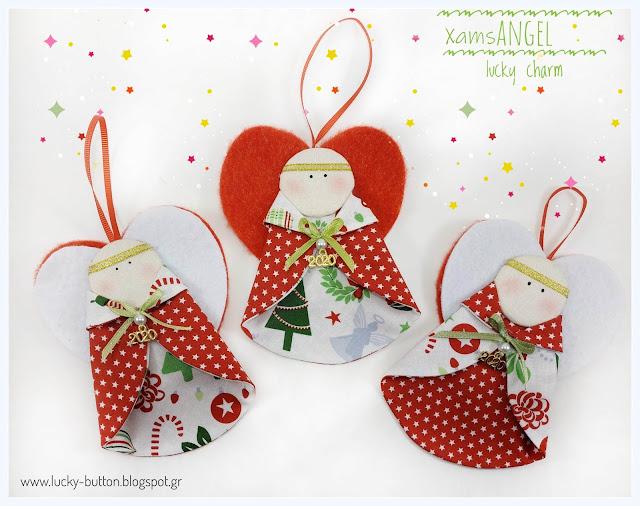 """Little Christmas angel"" Χριστουγεννιάτικο υφασμάτινο στολίδι αγγελούδι με τσόχινα φτερά"
