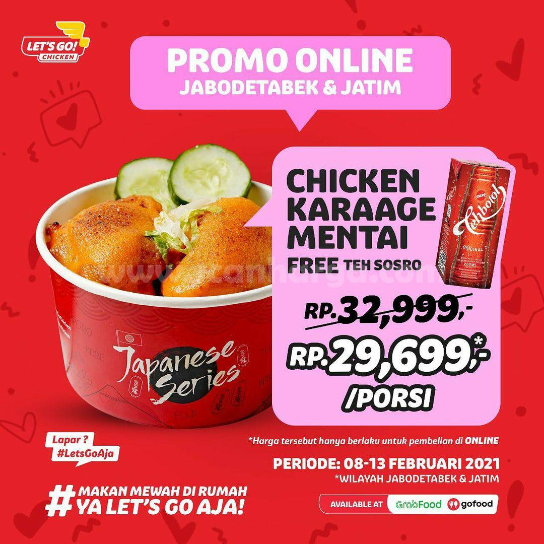 Let's Go! Chicken Promo Chicken Karaage Mentai GRATIS Teh Sosro