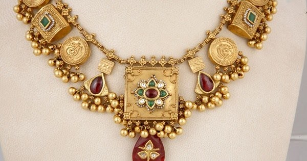 Elegant Gold Temple Short Haram Latest Jewellery Designs