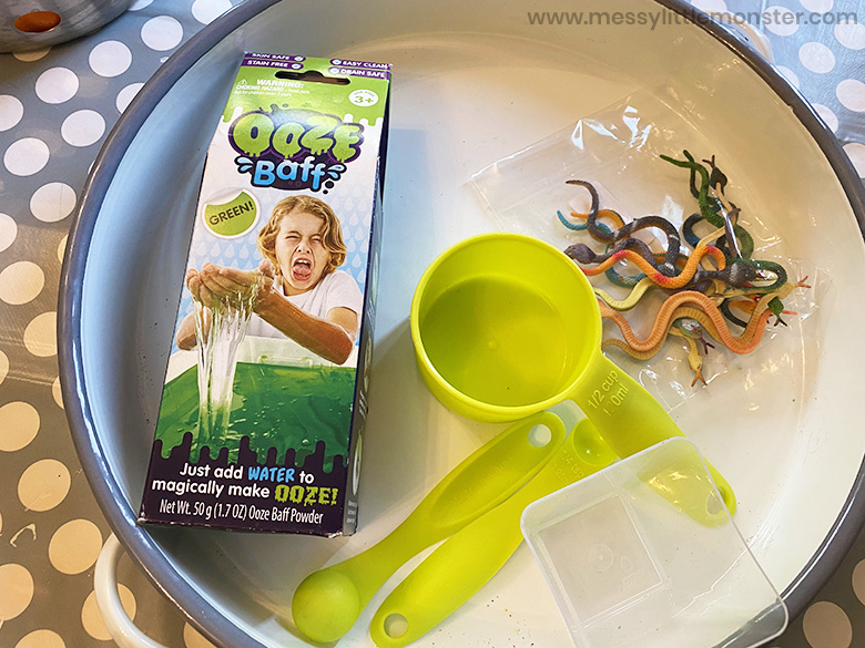 slime sensory bin supplies