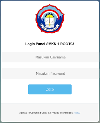 Halaman login aplikasi PPDB