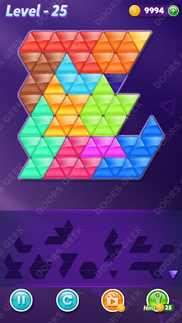 Block! Triangle Puzzle 12 Mania Level 25 Solution, Cheats, Walkthrough for Android, iPhone, iPad and iPod