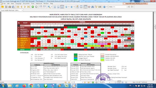 Download Kalender Pendidikan Madrasah Tahun Pelajaran 2021/2022 Format PDF Jawa Timur