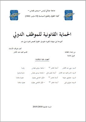 أطروحة دكتوراه: الحماية القانونية للموظف الدولي PDF