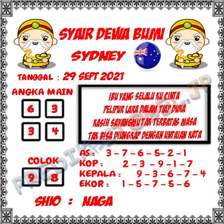 Syair Dewa Bumi Sidney Hari Ini 29-09-2021