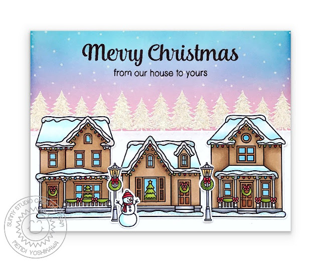 Sunny Studio Blog: Merry Christmas From Our House To Yours Neighborhood Homes with Glittery Snow, Snowman, Pink Sunset and Snowflakes Handmade Holiday Card (using Victorian Christmas, Christmas Home, Here Comes Santa & Merry Sentiments Stamps)