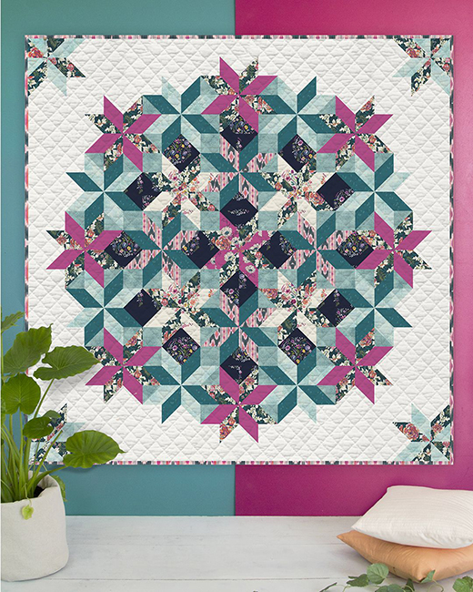 Evergrowing Mandala Quilt designed by Live art gallery fabrics Studio, featuring Trouvaille Collection